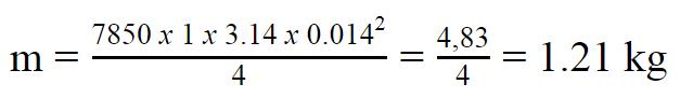 1 mét thép Hòa phát phi 14 nặng bao nhiêu kg được tính bằng công thức